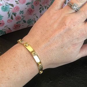 Tory Burch NWOT Milgrain Gold Logo Cuff Bracelet